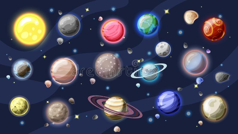 Solar system vector cartoon collection. Planets, moons of Earth, Jupiter and other planet of Solar system, with. Asteroids, Sun and planet rings. Set of stock illustration
