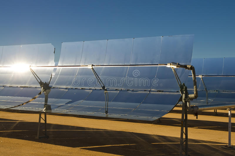 Solar thermal energy electricity plant stock image