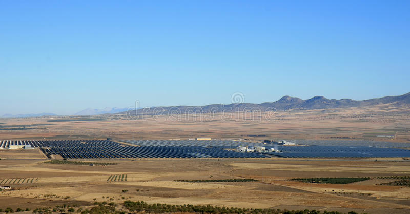 Solar thermal power plant of Guadix, Spain. The Andasol solar power station is Europe's first commercial parabolic trough solar thermal power plant, located near royalty free stock images