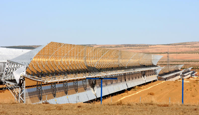 Solar thermal power plant near Guadix, Spain. The Andasol solar power station is Europe's first commercial parabolic trough solar thermal power plant, located stock photography