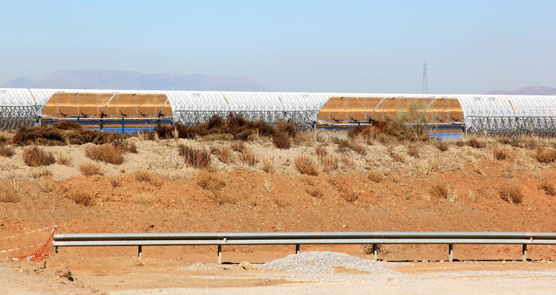 Solar thermal power station near Guadix, Spain. The Andasol solar power station is Europe's first commercial parabolic trough solar thermal power plant, located royalty free stock photo