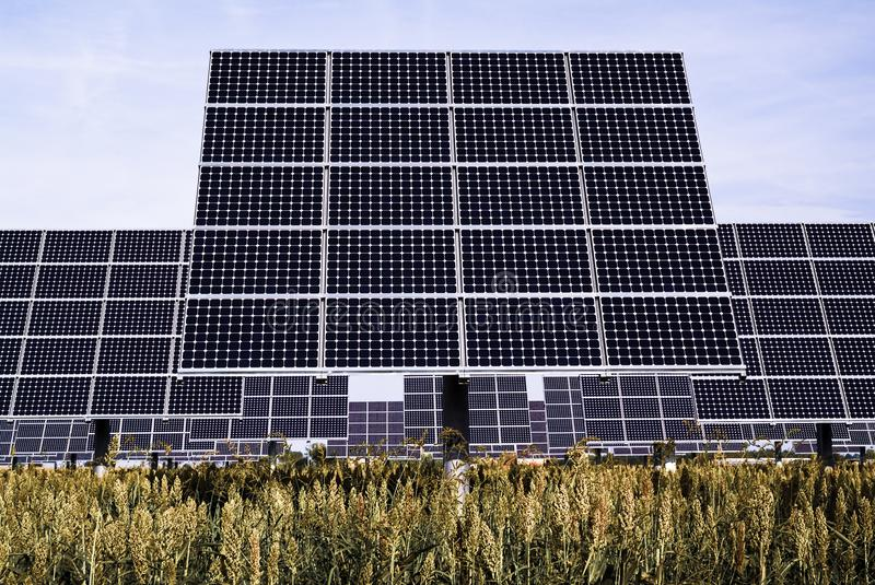 Solar trackers, photovoltaic device that orients a payload toward the Sun. Field photovoltaic trackers, movie device that orients a payload toward the Sun stock photos