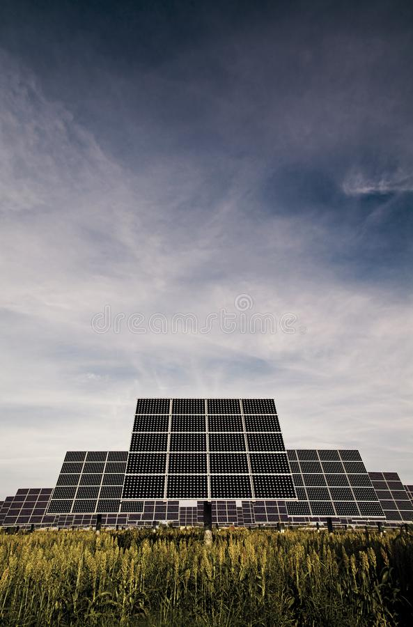 Solar trackers, photovoltaic device that orients a payload toward the Sun. Photovoltaic trackers, movie device that orients a payload toward the Sun stock image