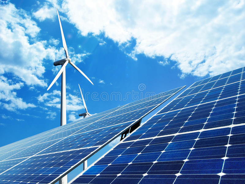 Solar- und Windenergie stockfotos