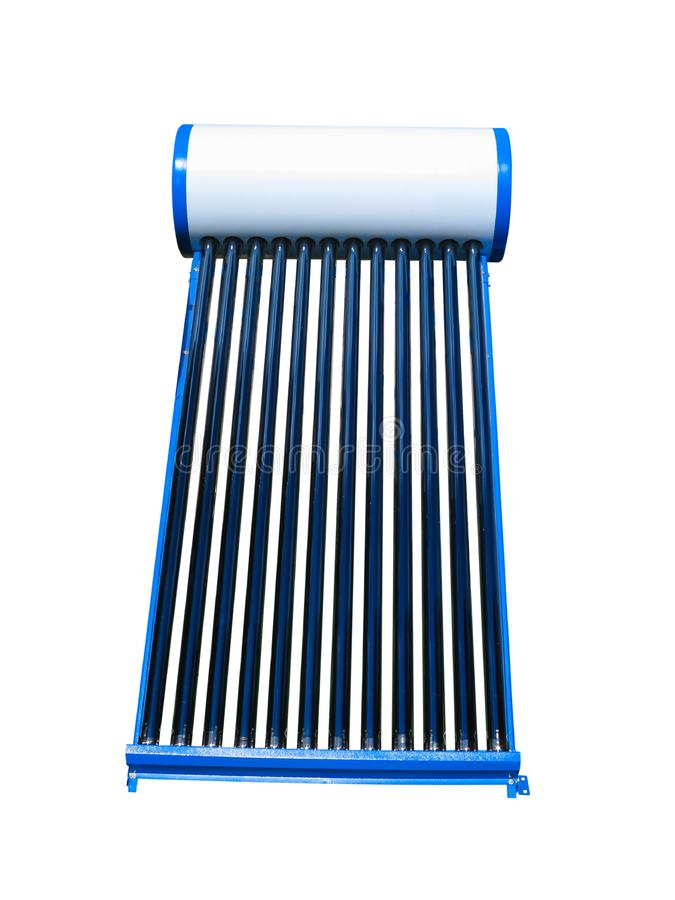 Solar water heat pipe collector isolated over white background. Solar water heat blue pipe collector isolated over white background royalty free stock images