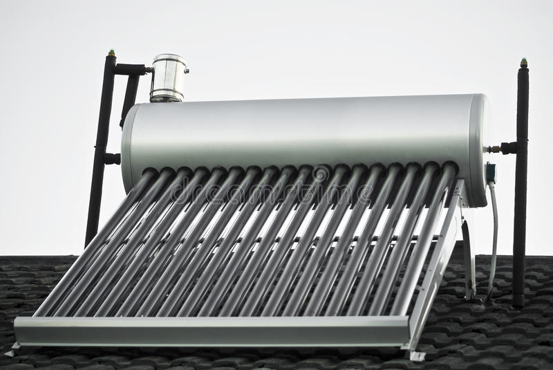 Solar Water Heater - Evacuated Glass Tubes royalty free stock photography