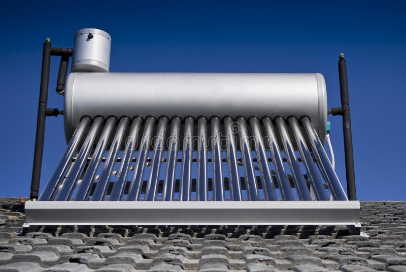 Solar Water Heater - Evacuated Glass Tubes Stock Image