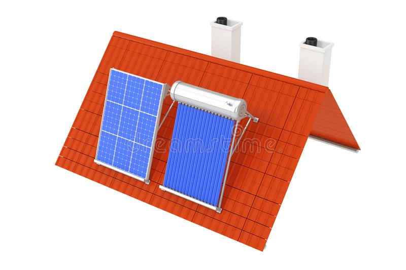 Solar Water Heater and Solar Panel Installed on a Red Roof. 3d R stock illustration