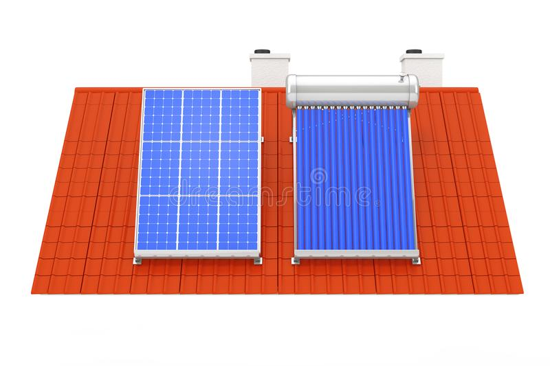 Solar Water Heater and Solar Panel Installed on a Red Roof. 3d R. Solar Water Heater and Solar Panel Installed on a Red Roof on a white background. 3d Rendering royalty free stock photos