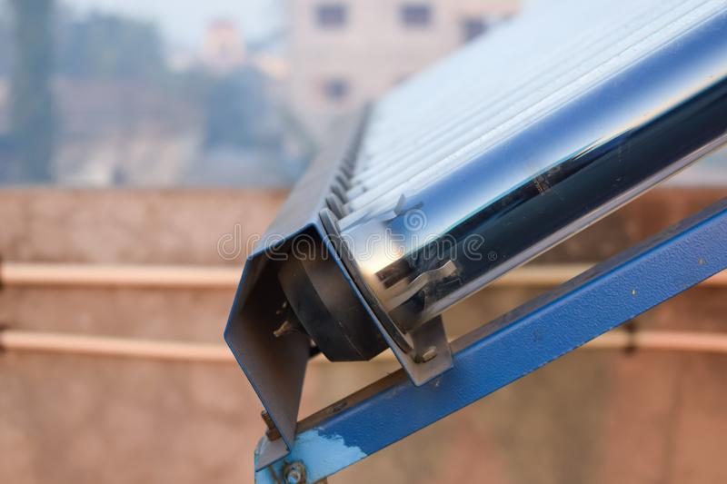 Solar water heater system pipes stock images