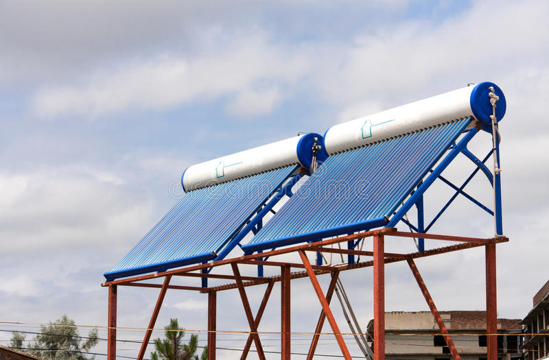 Solar water heaters on the roof close up.  stock photos