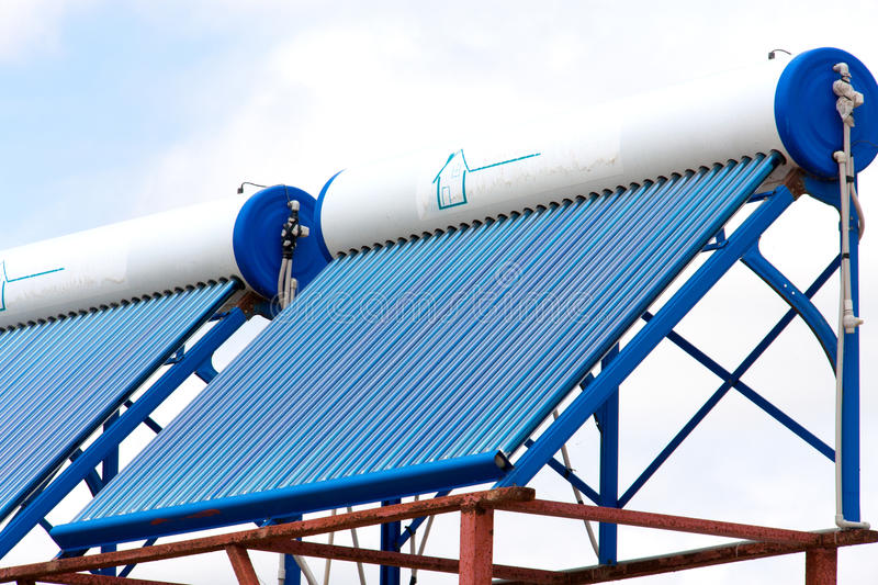 Solar water heaters on the roof close up.  stock images