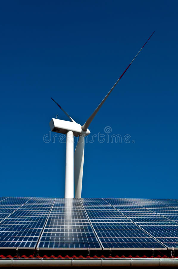 Solar and wind energy stock image