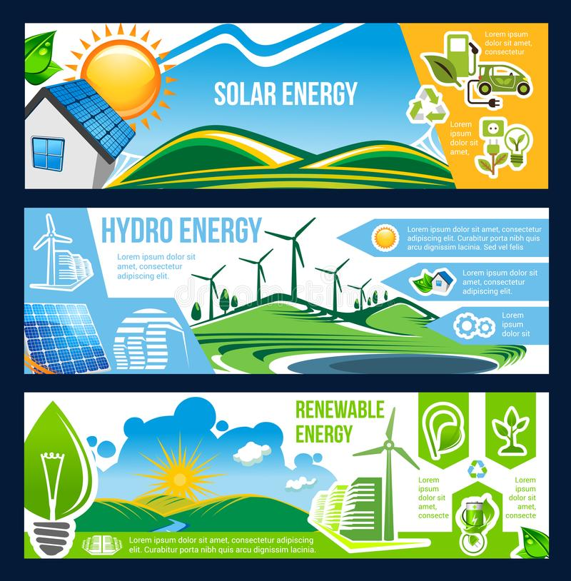 Solar, wind and hydro energy banner of green power vector illustration