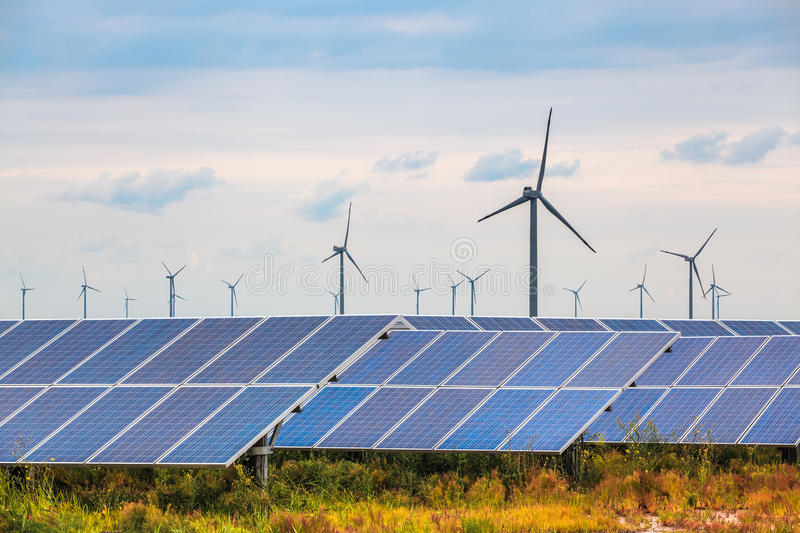 Download Solar And Wind Power In Coastal Mud Flat Stock Image - Image of generate, plant: 33516895