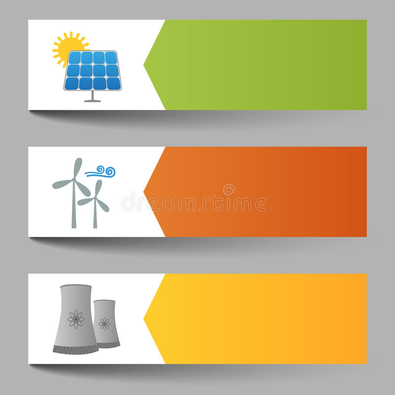 Solar, windmills and nuclear power plants banners vector illustration