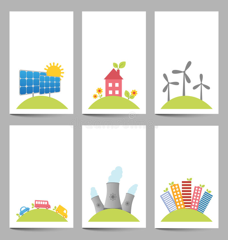 Solar, windmills and nuclear power plants banners stock illustration