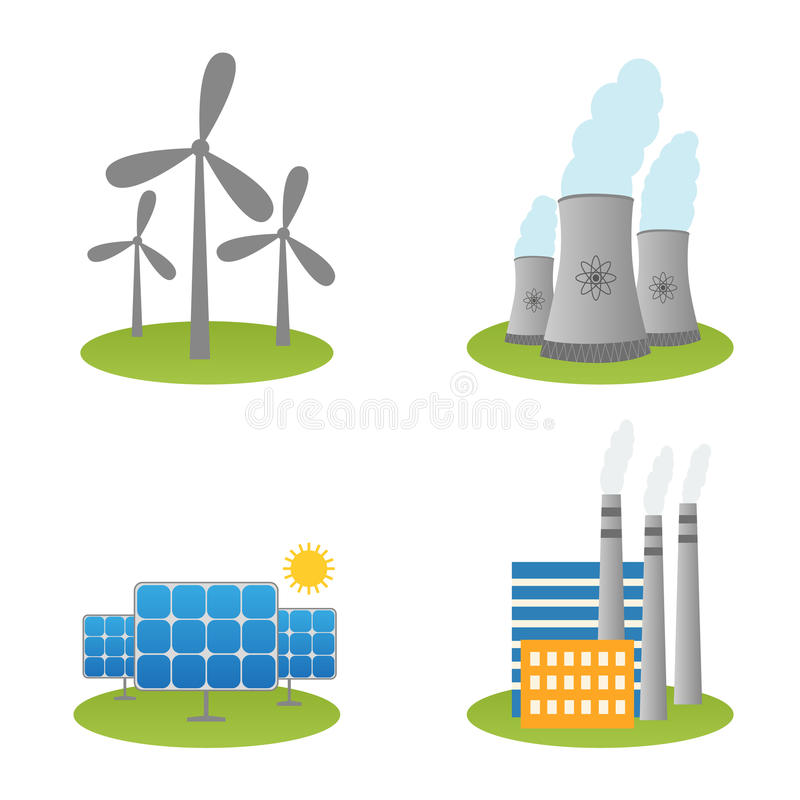 Solar, windmills and nuclear power plants icons vector illustration