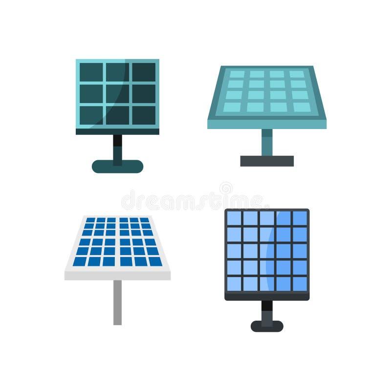 Solarbatterie-Ikonensatz, flache Art stock abbildung