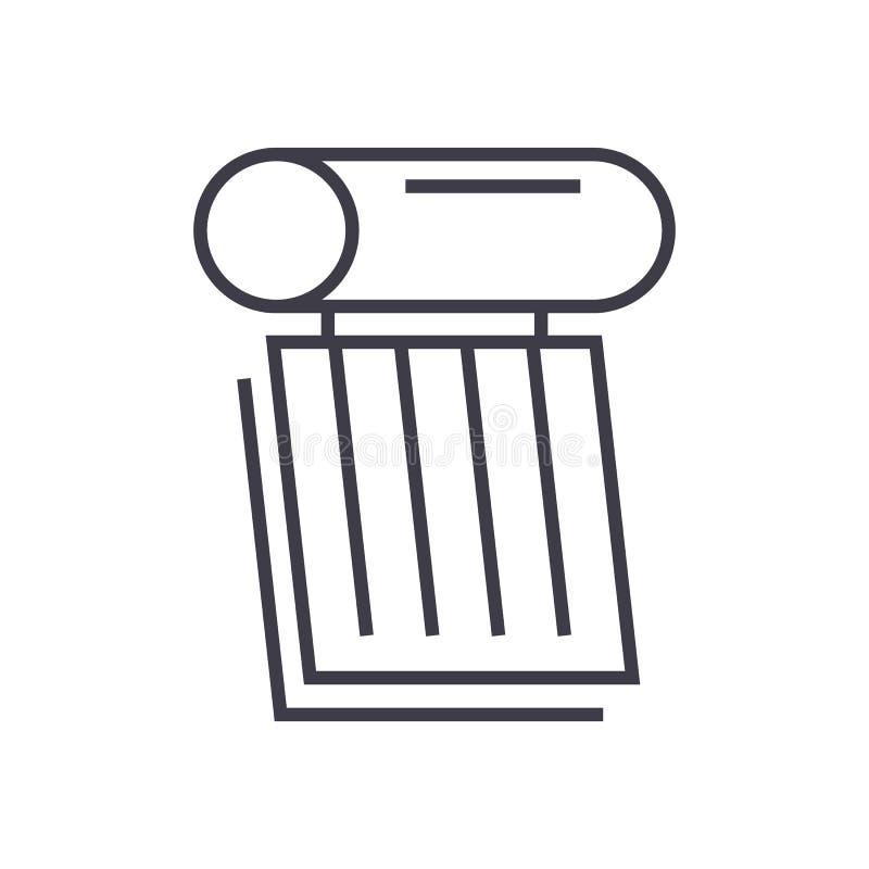 Solarbatterie-Illustrationsvektorlinie Ikone, Zeichen, Illustration auf Hintergrund, editable Anschläge stock abbildung