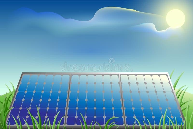 Solarbatterieleistung, grünes Gras, blauer Himmel und heller Sonnenschein lizenzfreie abbildung