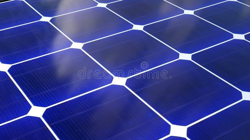 Solarbatterieoberfläche, Solarenergie-Generationstechnologie der Illustration 3D, diese ist alternative Energie stock abbildung