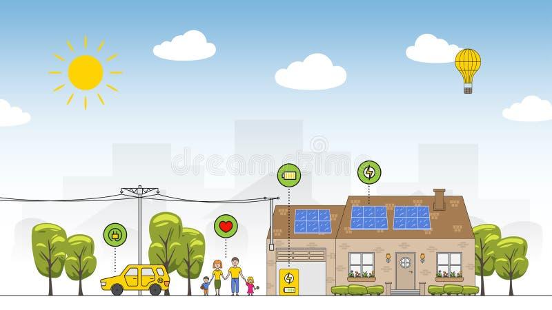 Solarbunte Vektorillustration der batterieanlage vektor abbildung