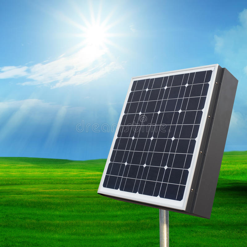 Download Solarcell Out Door With With Sun Shining On Blue Sky Stock Image - Image: 33479571