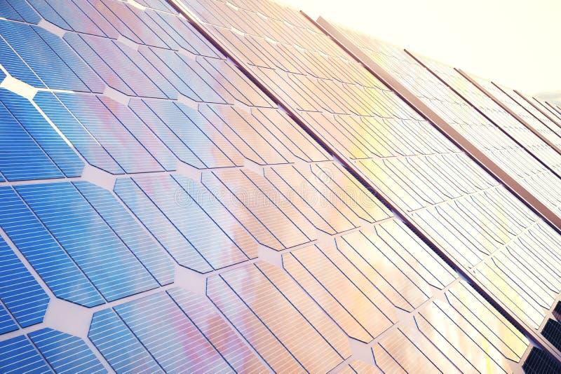 Solarenergie-Generationstechnologie der Illustration 3D Alternative Energie Solarbatteriefeldmodule mit szenischem Sonnenuntergan lizenzfreie abbildung