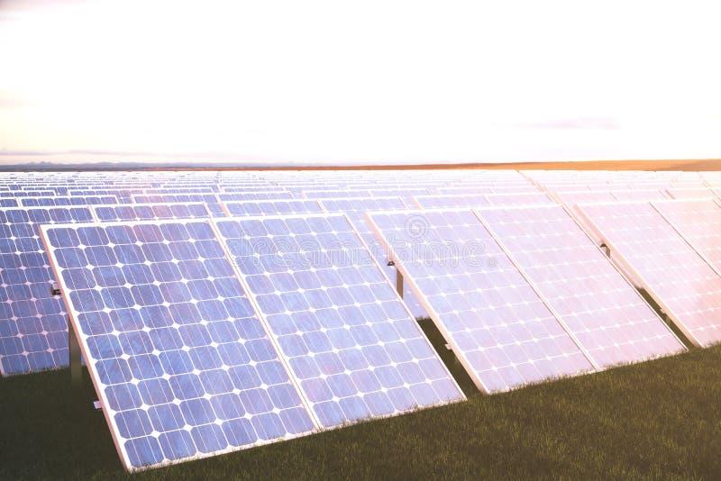 Solarenergie-Generationstechnologie der Illustration 3D Alternative Energie Solarbatteriefeldmodule mit szenischem Sonnenuntergan vektor abbildung