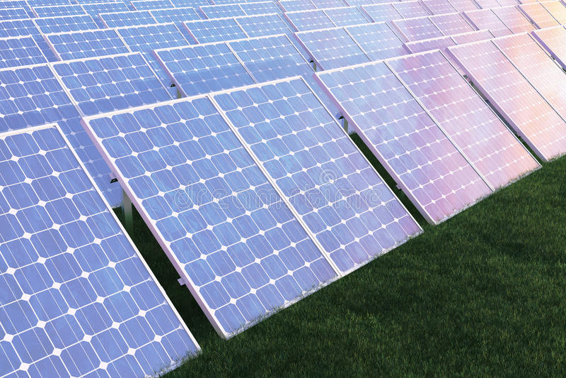Solarenergie-Generationstechnologie der Illustration 3D Alternative Energie Solarbatteriefeldmodule mit szenischem Sonnenuntergan stock abbildung