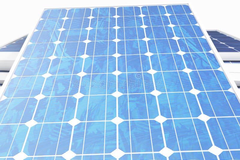 Solarenergie-Generationstechnologie der Illustration 3D Blaue Sonnenkollektoren Alternative Stromquelle des Konzeptes Eco Energie lizenzfreie abbildung