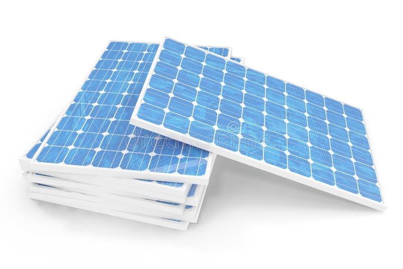 Solarenergie-Generationstechnologie der Illustration 3D Blaue Sonnenkollektoren Alternative Stromquelle des Konzeptes Eco Energie stock abbildung