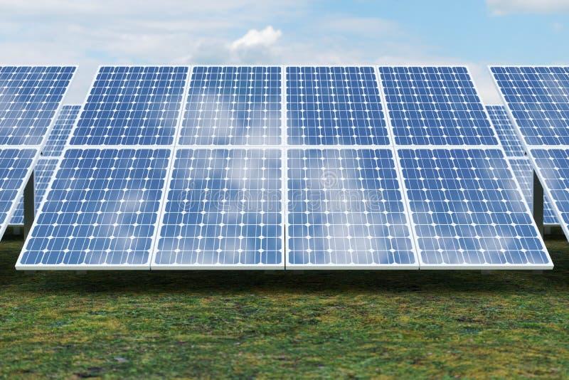Solarenergie-Generationstechnologie der Wiedergabe 3D Alternative Energie Solarbatteriefeldmodule mit blauem Himmel lizenzfreie abbildung