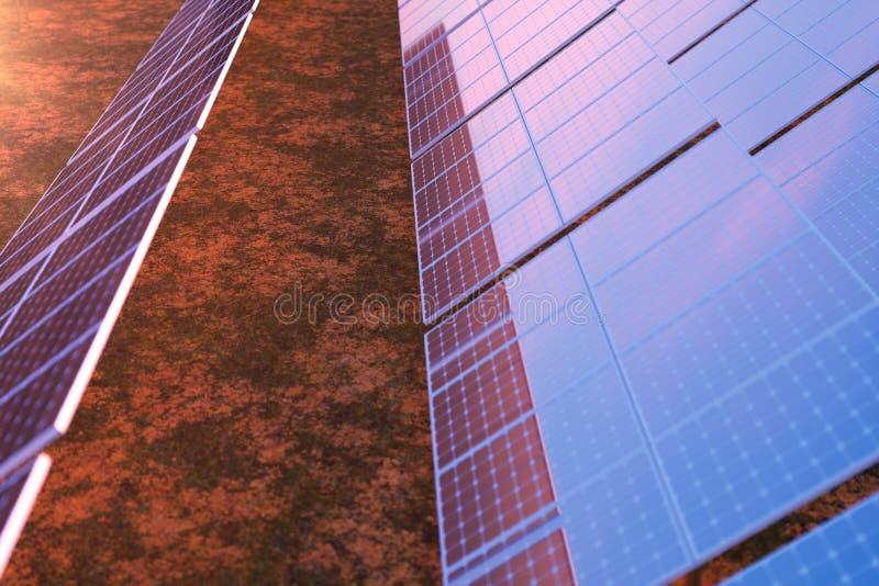 Solarenergie-Generationstechnologie der Wiedergabe 3D Alternative Energie Solarbatteriefeldmodule mit szenischem Sonnenuntergang  vektor abbildung