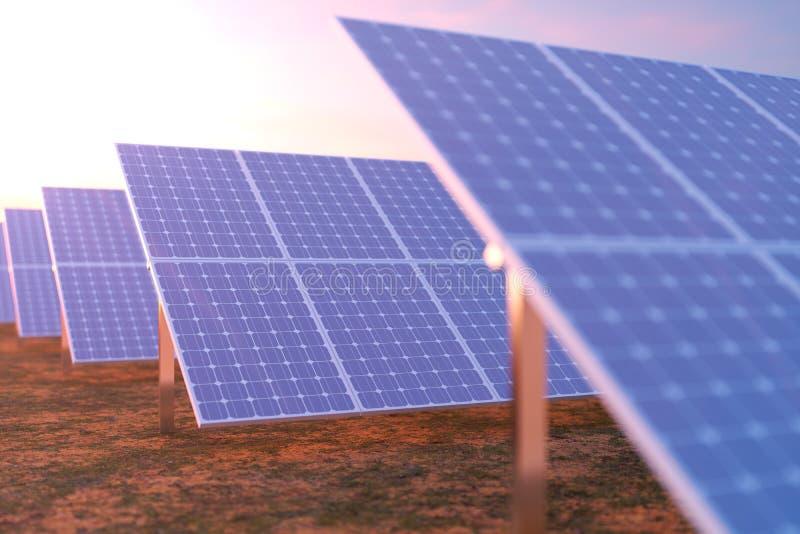 Solarenergie-Generationstechnologie der Wiedergabe 3D Alternative Energie Solarbatteriefeldmodule mit szenischem Sonnenuntergang  stock abbildung
