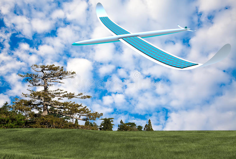 Solarenergieflugzeug stockfotografie