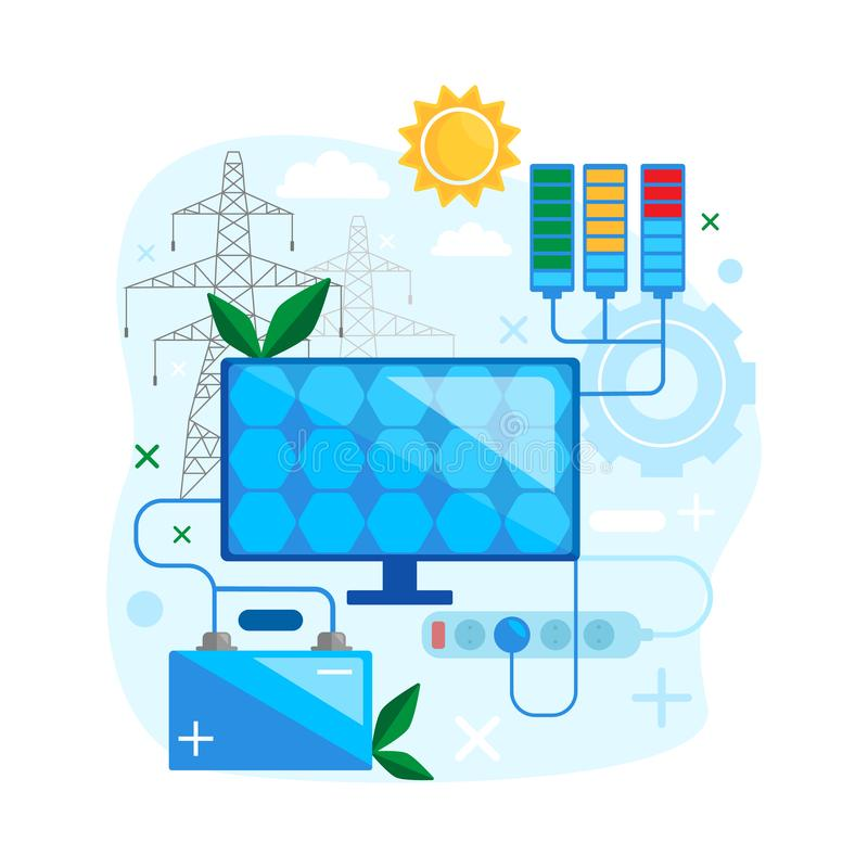 Solarenergiekonzeptentwurf Safe und alternative erneuerbare Energie des Gebrauches lizenzfreie abbildung