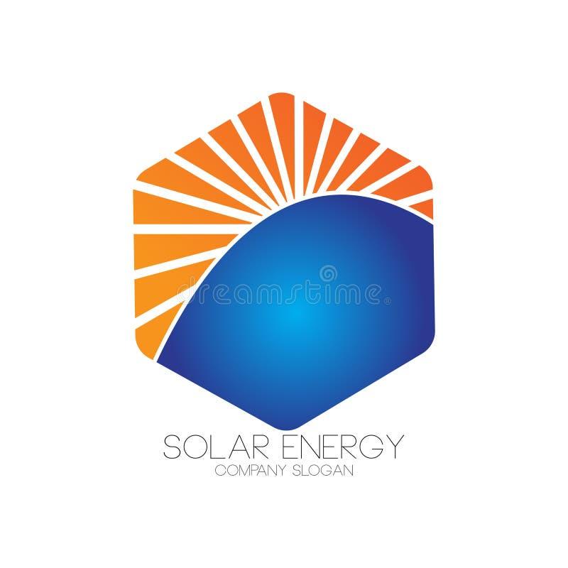Solarenergielogo für alternative Energie lizenzfreie abbildung