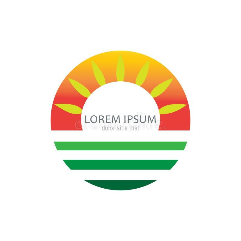 Solarenergiesymbol mit Blatt lizenzfreie abbildung