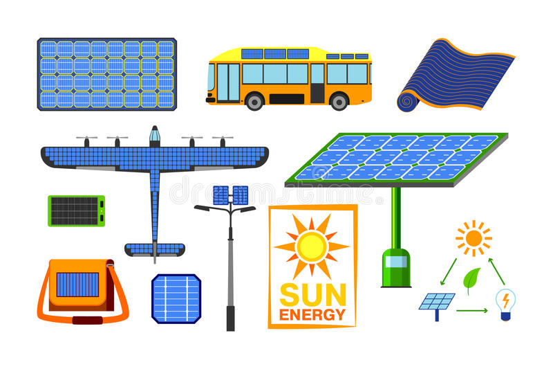 Solarenergievektorsatz vektor abbildung