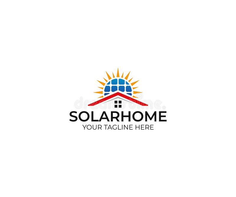 Solarhauptlogoschablone Sonnenkollektor- und Sonnenvektordesign vektor abbildung