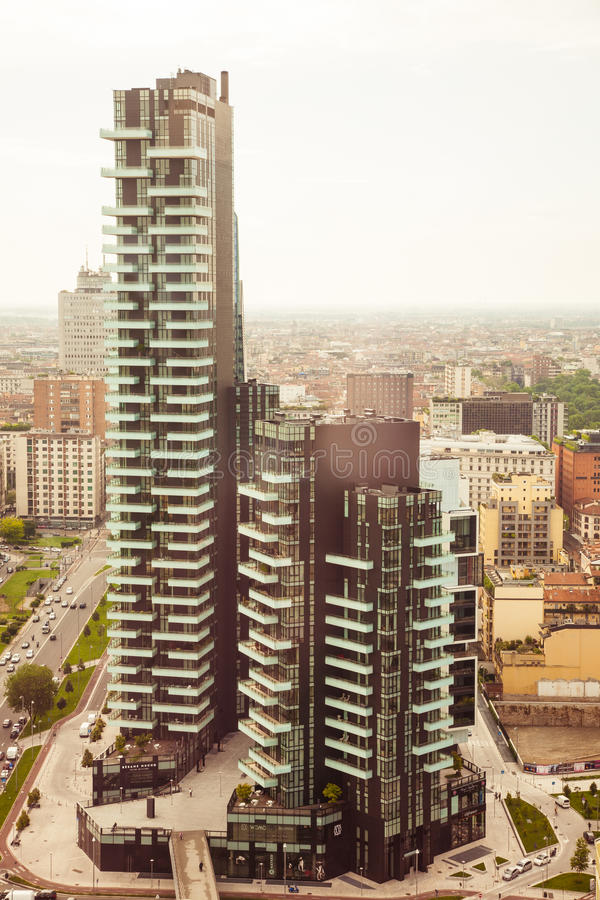 Solaria Tower, Milan. Milan, Italy - 2016, May 14 : The Solaria Tower, a modern residential skyscraper as seen from the Unicredit tower in the Porta Nuova royalty free stock images