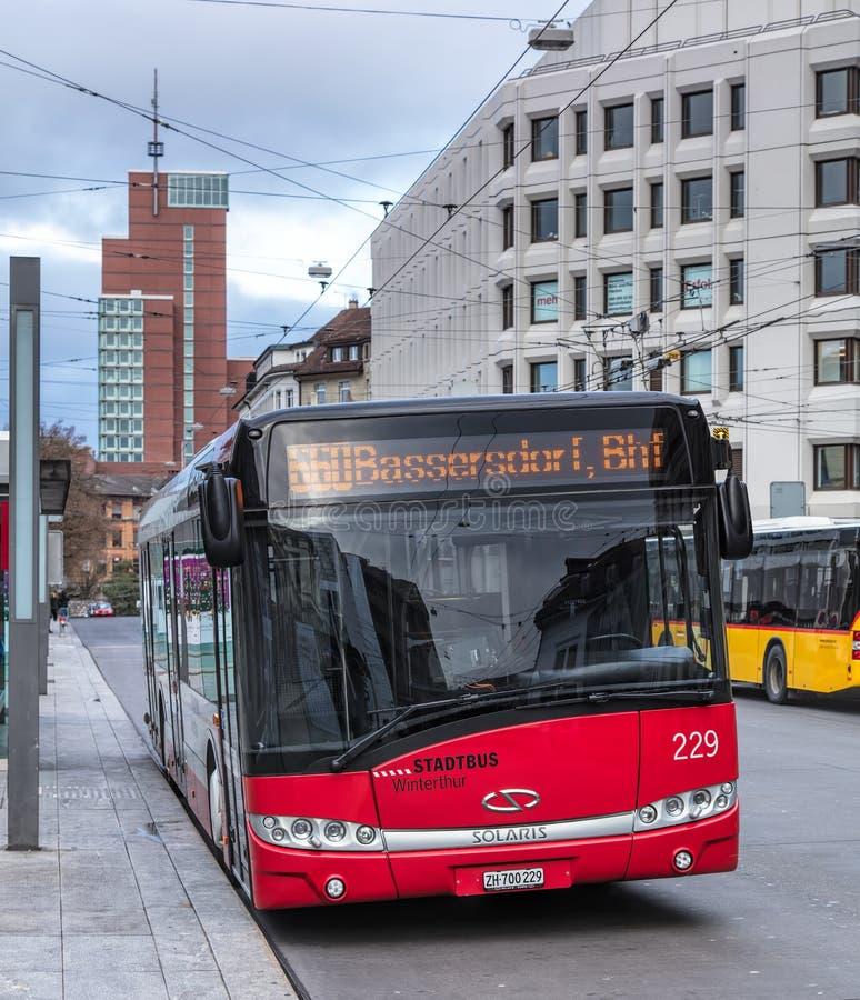 Solaris-bus in Winterthur, Zwitserland stock afbeelding