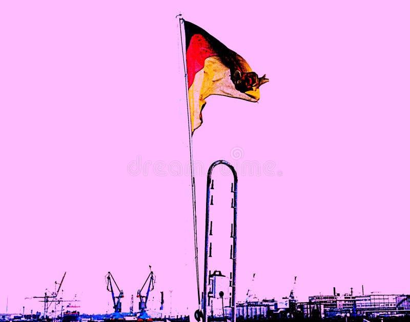 Solarisation du drapeau allemand, sur un fond commercial maritime de port, ciel rose Un hommage au commerce allemand, qui est images libres de droits