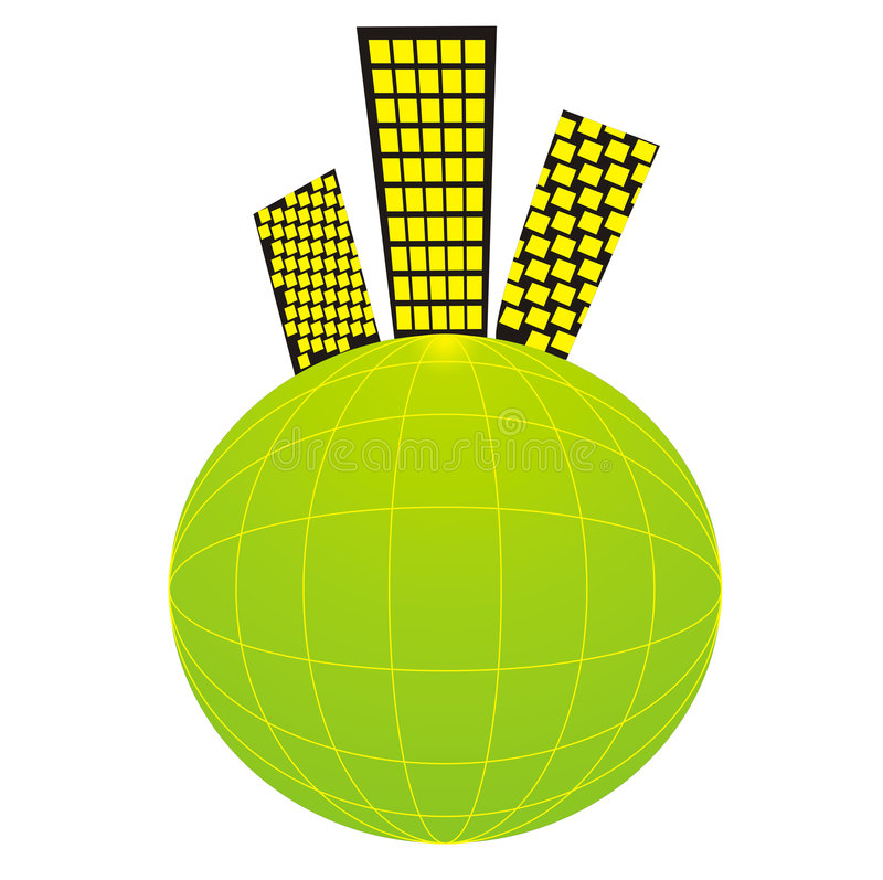 Solarplanet in der Nachbarschaft mit einer Stadtlebensdauer vektor abbildung