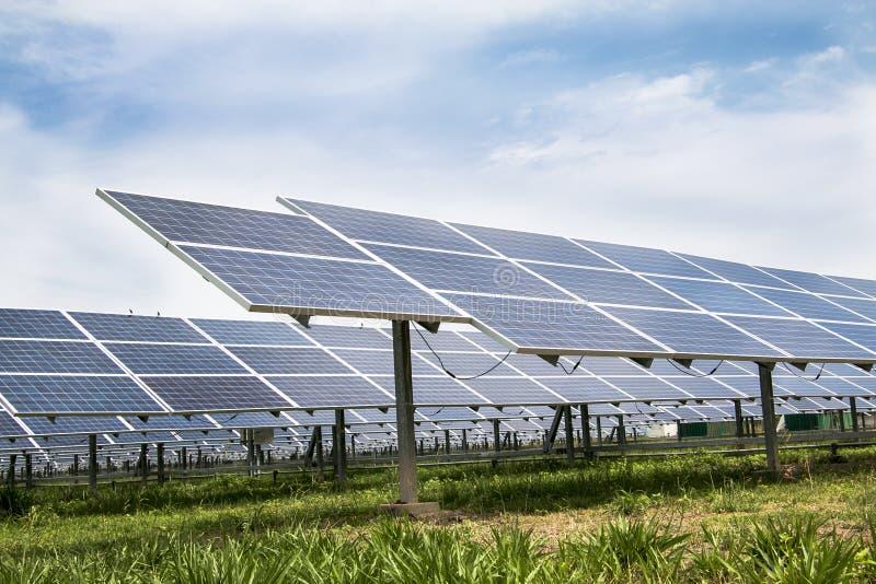 Solarzelle täfelt Bauernhof lizenzfreie stockbilder
