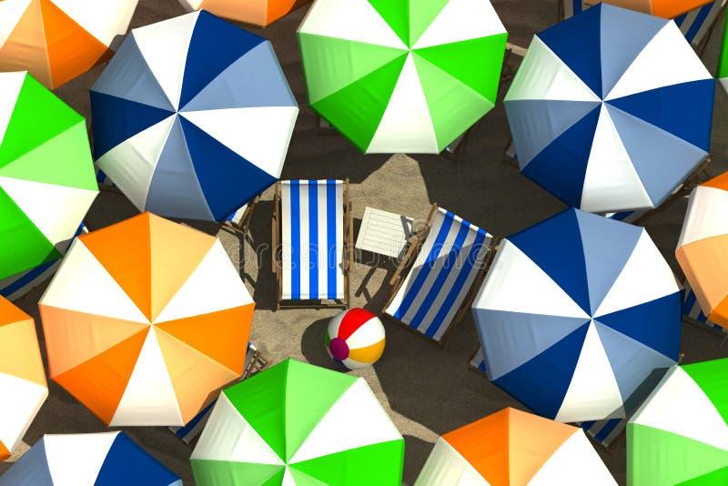 Solbada och paraplyer vektor illustrationer