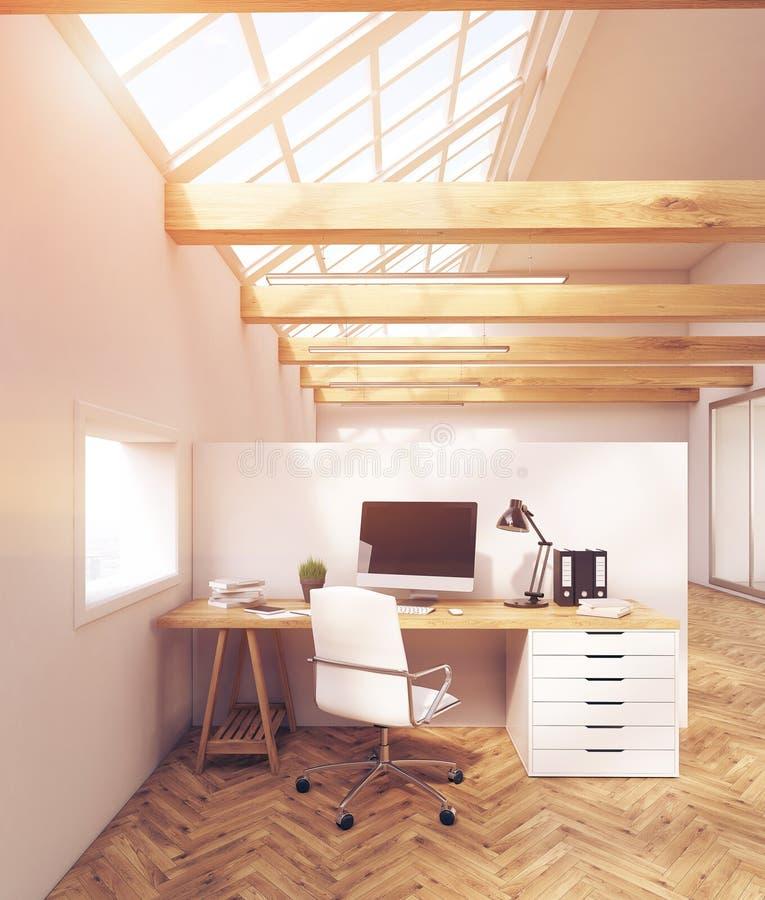 Solbelyst kontor i loft med fönster royaltyfri illustrationer
