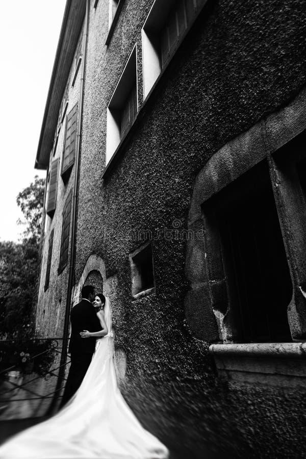 Solbelyst romantiskt gift par på bron med blommor som lutar ag royaltyfri fotografi